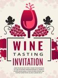 Wein-Retro- Plakat Bilder des Weinglases und der stilisierten blauen Traube stock abbildung
