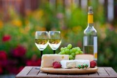 Wein-u. Käse-Garten-Party Lizenzfreie Stockfotos