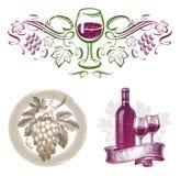 Wein u. Weinproduktionembleme u. -kennsätze stock abbildung