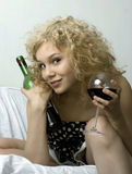 Wein und girle Lizenzfreies Stockbild