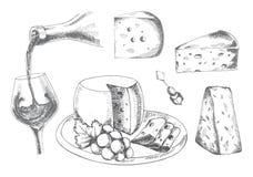 Wein und Käse Stockfotografie