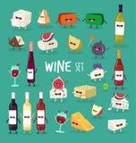 Wein- und Käsesatz Stockfoto
