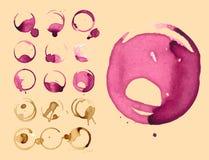 Wein und Kaffee staiin Stellen spritzt Spritzen-Vektorillustration der Schale Vektor lokalisierte Lizenzfreie Stockfotografie