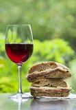 Wein und Sandwich stockfotografie