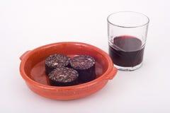 Wein- und Schweinefleischblutpudding Stockbilder