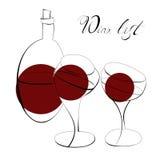 Wein und zwei Gläser Stockfotos