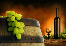 Weinaufbau im dunklen Innenraum Lizenzfreies Stockbild