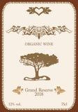 Weinaufkleber mit organischer Verzierung stockfotos