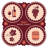 Weinaufkleber mit Trauben- und Fassikonen Stockbilder