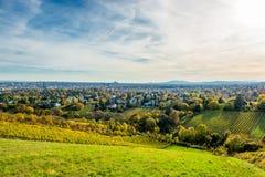 Weinberg im Herbst vor den Skylinen von Wien in Österreich Stockfotos