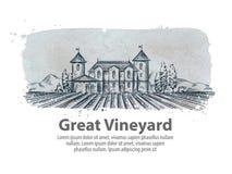 Weinberg, Weinstöckevektorlogo-Designschablone Ernte, Ernte, Ertrag oder Landwirtschaftsikone Stockfotografie