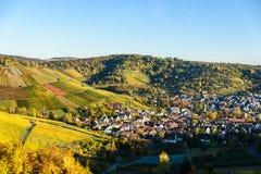 Weinberge in Stuttgart, Uhlbach am Neckar-Tal - sch?ne Landschaft im autum in Deutschland stockfotografie