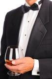 Weinbrand-Glas mit Zigarre Lizenzfreie Stockfotos