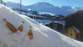 Weinbrand im Schnee Stockfotos