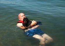 Weiner dog raft Stock Photo