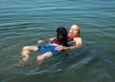 Weiner dog raft Stock Photos
