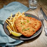 Weiner Schnitzel with fried Potatoes stock images