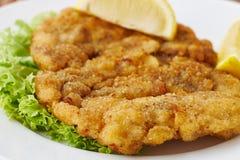 Weiner schnitzel z zieloną sałatką i cytryną Obraz Royalty Free