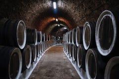 Weinfässer im Keller stockbild