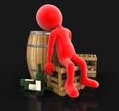 Weinfaß, Flaschen und Mann (Beschneidungspfad eingeschlossen) Lizenzfreies Stockfoto