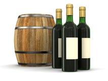 Weinfaß und Flasche (Beschneidungspfad eingeschlossen) Stockfoto