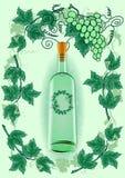 Weinflasche mit Traubenrahmen stock abbildung