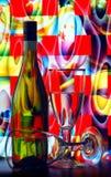 Weinflasche und -gläser Lizenzfreies Stockbild
