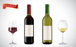Weinflaschen, Glasvektor in hohem Grade einzeln aufgeführt Realistischer Satz von von Flaschen und von von Weingläsern des weißen lizenzfreie abbildung