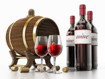 Weinflaschen, Korken, Gläser und Fass lokalisiert auf weißem Hintergrund Abbildung 3D Lizenzfreie Stockfotografie