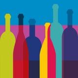 Weinflaschen Kunsthintergrund Weinrestaurantkonzept Lizenzfreie Stockfotos