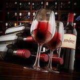 Weinflaschen und Gläser auf Weinkellereitabelle Abbildung 3D Lizenzfreie Stockfotografie