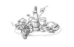 Weinflaschen- und -glasstillleben Stockfotos