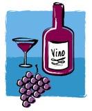 WeinFlaschenglas und Trauben Stockfotos