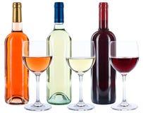 WeinFlaschenglas-Weinrot-Weißrosenalkohol lokalisiert lizenzfreie stockfotografie