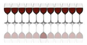 Weingläser in der Zeile Stockbilder