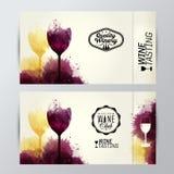 Weingläser mit Hintergrundflecken Förderungskarten Lizenzfreie Abbildung