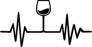 Weinglas-Herzschlaglinie vektor abbildung