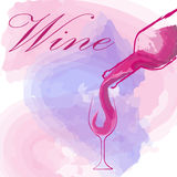 Weinglas-Konzeptmenüdesign Stockfotografie