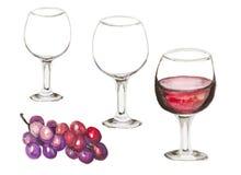 Weinglas mit Rotwein Stockfotografie