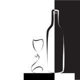 Weinglas und -flasche für Wein Stockfoto
