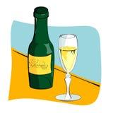 Weinglas und -flasche für Wein Stockbild