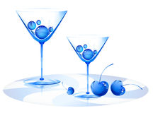 Weinglas und Kirsche stock abbildung