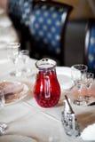 Weinglas und Serviette Stockbild