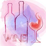 Weinglas und Weinflasche Stockbild