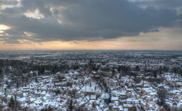 Weinheim Germany in Winter. City of Weinheim, Germany in the snow. The old town lies in the valley, with the new part of town further to the west. HDR image Royalty Free Stock Images
