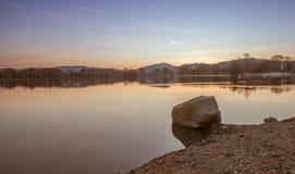 Weinheim See bei Sonnenaufgang Stockfotografie