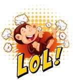 Weinig aap die op de vloer lachen Stock Foto