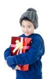 Weinig Aziatische leuke jongen met giftdoos Stock Fotografie