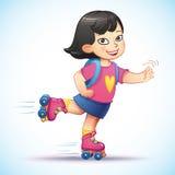 Weinig Aziatische meisjesritten op rolschaatsen Stock Fotografie