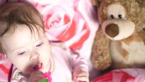 Weinig baby ligt op hoofdkussen en knaagt aan stuk speelgoed stock videobeelden